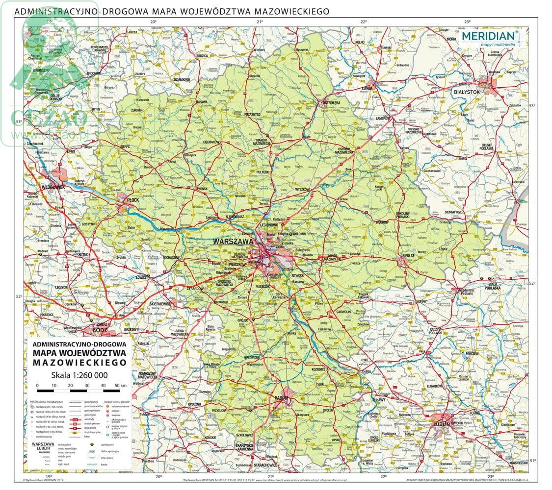 Wojewodztwo Mazowieckie Scienna Mapa Administracyjno Drogowa