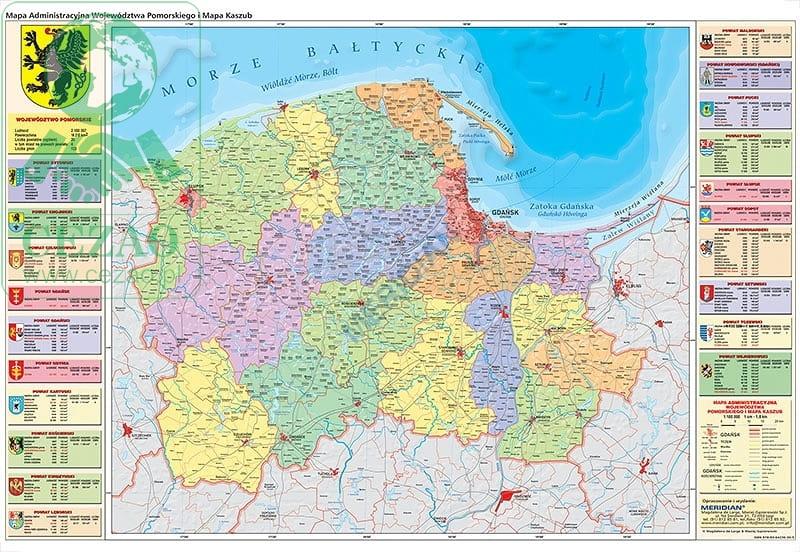 Wojewodztwo Pomorskie Mapa Administracyjna I Mapa Kaszub Cezao Pl