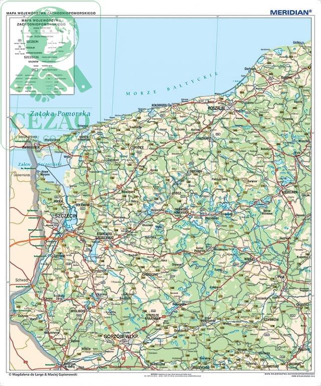 Woj Zachodniopomorskie Scienna Mapa Administracyjno Samochodowa