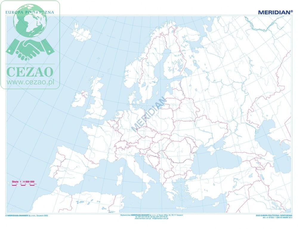 Duo Europa Fizyczna Z Elem Ekologii Europa Konturowa Cezaopl