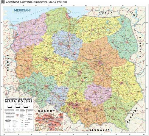 Mapa Administracyjno Drogowa Polski Stan Na 2019 Mapa Scienna