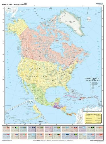 Ameryka Polnocna I Srodkowa Scienna Mapa Polityczna 120 X 160 Cm