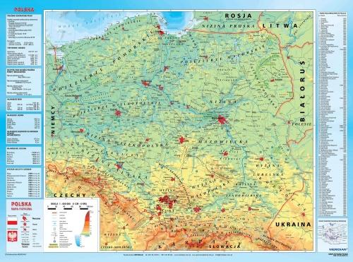 Mapa Fizyczna Polski Z Elementami Ekologii Mapa Scienna 200x150